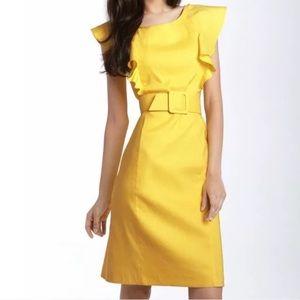 Adrianna Papell • Ruffle Trim Linen Sheath Dress